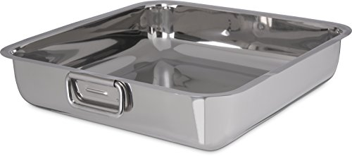 Carlisle 609086 Stainless Steel Square Display Dish with Handles, 7.4 Quarts (Pack of 12)