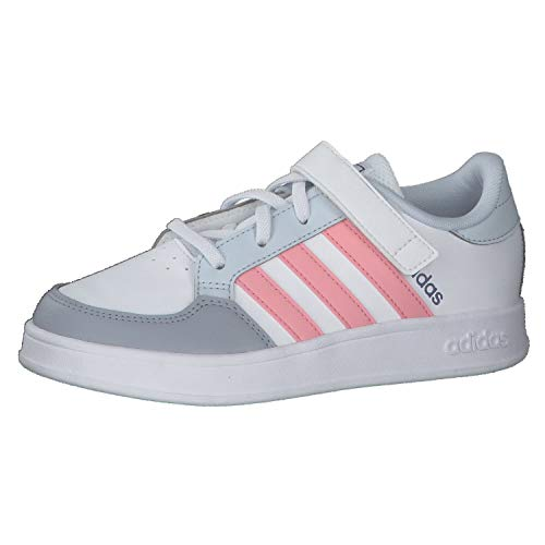 adidas BREAKNET C, Scarpe da Tennis, Ftwr White/Super Pop/Halo Blue, 33 EU