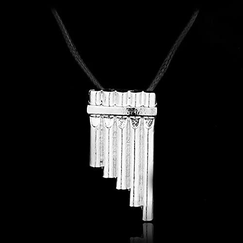 SOTUVO Collar Lindo Peter Pan Flauta Aleación Colgante Collar de Cuerda Negra Regalo para Hombre Mujer Fans Collares de joyería de película