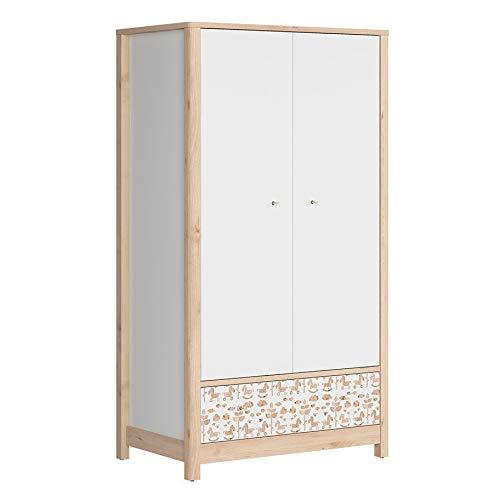 SMARTBett TIMOH - Armario de 2 Puertas con 1 cajón, Color Blanco, Madera de Haya, decoración de Poni y Blanco: Amazon.es: Hogar