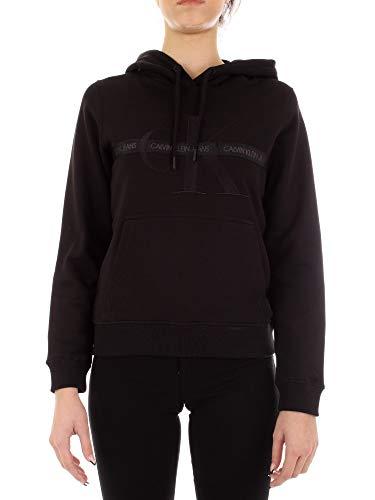 Calvin Klein Jeans Damen Taping Through Monogram Hoodie Kapuzenpullover, CK Schwarz, S