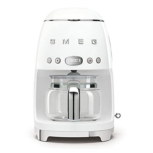 Smeg DCF02WHEU - Macchina da caffè con filtro programmabile, 10 tazze, 1050 W, colore: Bianco