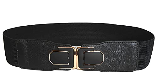 Women Stretchy Wide Waist Gold Belt Buckle Fashion Black Elastic for Jeans Dresses (Medium)