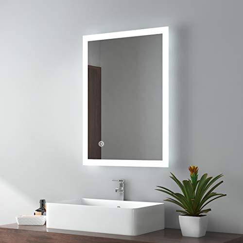 EMKE Badezimmerspiegel 50x70cm LED Badspiegel mit Beleuchtung kaltweiß Lichtspiegel Wandspiegel mit Touchschalter + beschlagfrei IP44