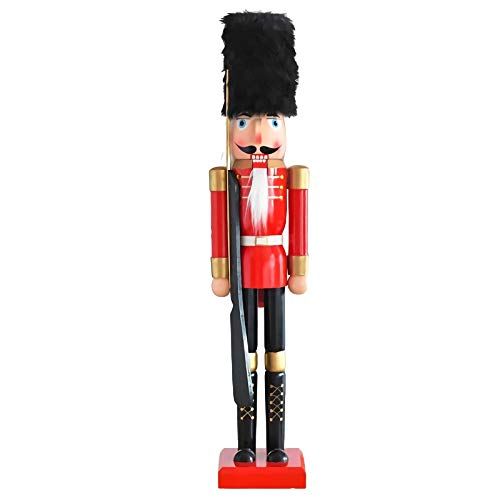 Christmas Decor TongN 35' Tall Large Christmas Wooden Nutcracker Kings Soldier Ornament Christmas Decoration Figures Puppet Toys Home Decor (Size : Soldier with Gun)