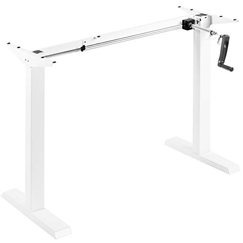 VIVO Compact Hand Crank Stand Up Desk Frame for 34 to 71 inch Table Tops, Ergonomic Standing Height Adjustable Base with Foldable Handle, White, DESK-M051MW