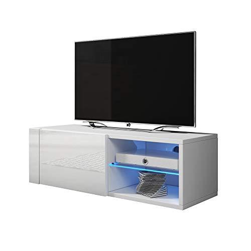 Élégant Single - Meuble TV/Banc TV (100 cm, Blanc Mat/Blanc Brillant avec éclairage LED)