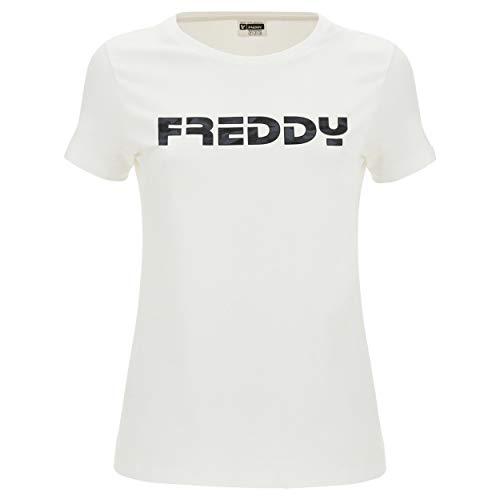 FREDDY T-Shirt Bianca Regular in Cotone Elasticizzato con Logo - Bianco - Small
