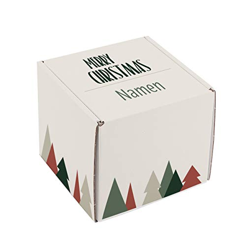 Herz & Heim® Personalisierte Geschenkverpackung zu Weihnachten mit Ihrem Wunschtext auf dem Deckel S