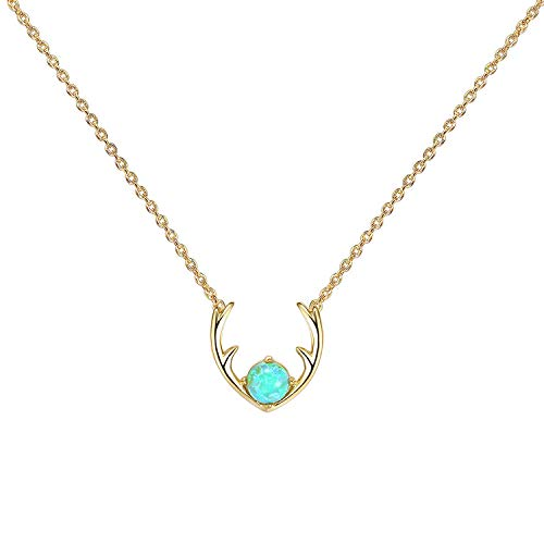 """PAVOI 14K GOLD Plated Green OPAL Deer Antler Necklace 16-18"""""""