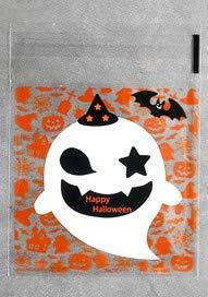 【BEAUTY PLAYER】ハロウィン ラッピング 袋 10*10+3CM キャンディー お菓子 チョコレート クッキー かぼちゃ 幽霊 小物入れ ギフトバッグ シール袋 自己接着 プレゼント(白幽霊)