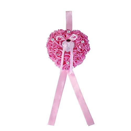 SOULONG Romantische Rose Hart Vorm Bruiloft Ring Bearer, Hart Parel Gift Ring Doos Kussen, Ring Opslag Kussen Doos Roze