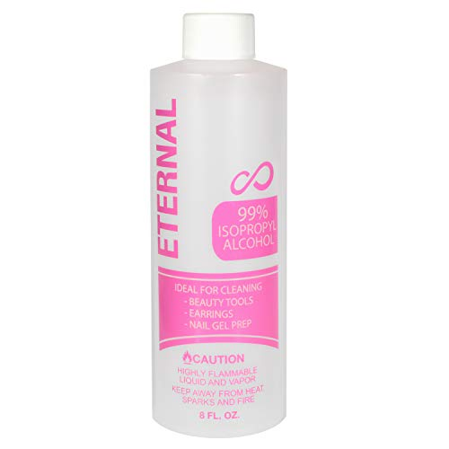 Eternal 99% Isopropyl Alcohol for Beauty Tools, Earrings and Nail Gel Prep (8 FL. OZ.)