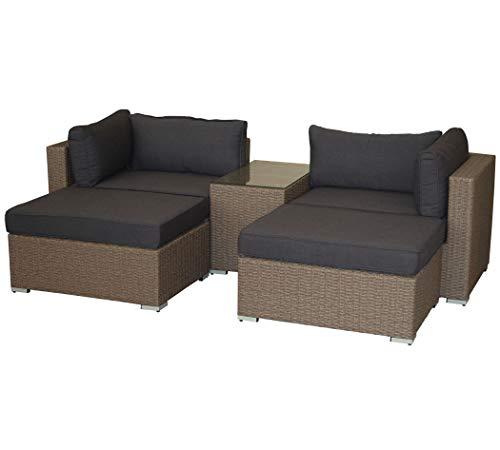 KMH®, großes naturfarbenes Lounge-Set Gartensitzgruppe Esstisch Sofa München inklusive Auflagen und Kissen (#106109)