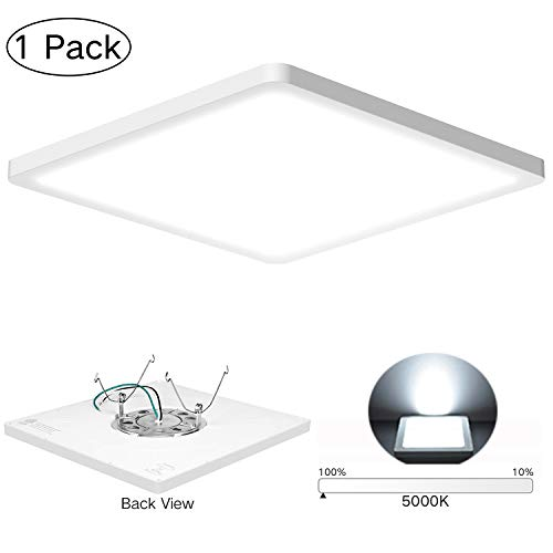 AVANLO Super Slim 0.6 Inch Thickness 12 Inch LED Ceiling Light Fixture, 120V 5000K 1680lm 24W (150W Equivalent), Dimmable, Square, for 3.5-4'' Junction Box, 5-6'' Housing & Surface Mount. 1 Pack