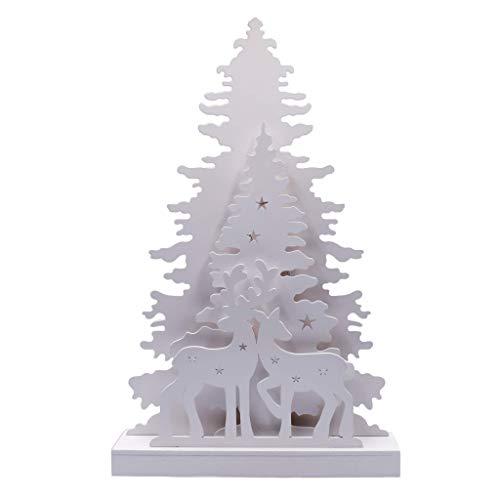 Tinsel Time - Sagoma di albero di Natale e renna, con 10 LED bianchi caldi, funzionamento a batteria, 44 cm