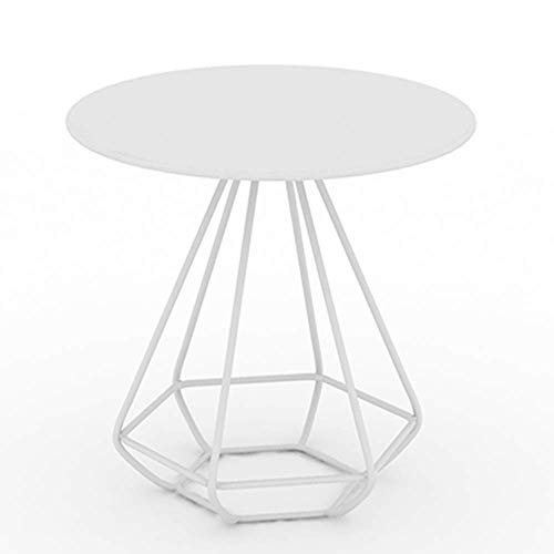 B-CD Salon Simple Art de Fer Table D'Appoint Chambre Chevet Mini Table d'angle Balcon Simple Petite Table Basse, Blanc