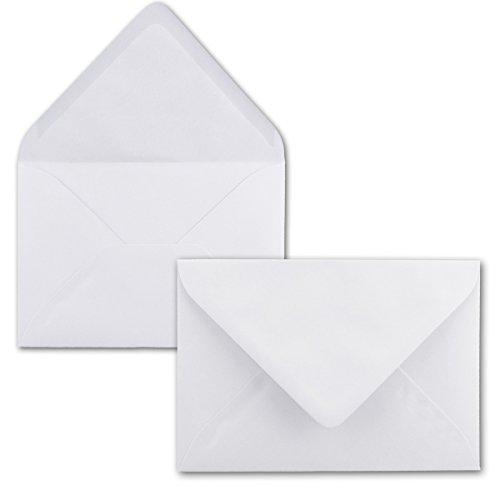 50x Briefumschläge B6-17,5 x 12,5 cm - Hochweiss - Nassklebung mit spitzer Klappe - 120 g/m² - Für Hochzeit, Gruß-Karten, Einladungen