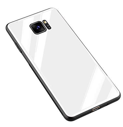 Kepuch Quartz Cover per Samsung Galaxy S7 Edge - TPU Morbido + Custodia Posteriore in Vetro Temperato Case per Samsung Galaxy S7 Edge - Bianco