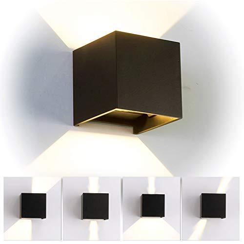 12W LED Wandleuchte Innen/Aussen Modern, Wandbeleuchtung mit einstellbar Abstrahlwinkel Up Down Design, IP 65 Wasserdichte Außenwandleuchten WandLampe 3000K Warmweiß (Schwarz)