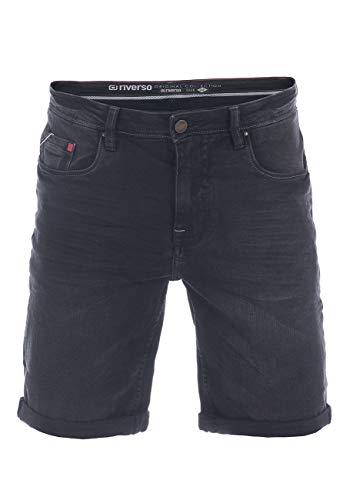riverso Herren Jeans Shorts RIVUdo Kurze Hose Regular Fit Denim Short 99% Baumwolle Bermuda Grau Hellblau Blau w30 w31 w32 w33 w34 w36 w38 w40 w42 (W 31, Black Denim (B122))