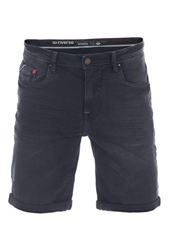 riverso Herren Jeans Shorts RIVUdo Kurze Hose Regular Fit Denim Short 99% Baumwolle Bermuda Grau Hellblau Blau w30 w31 w32 w33 w34 w36 w38 w40 w42 (W 36, Black Denim (B122))