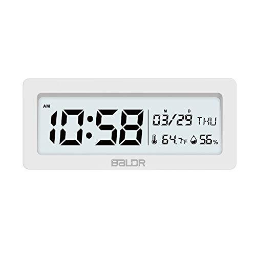 Wandklok LED wekker despertador temperatuur luchtvochtigheid digitaal kantoor tafel snooze klok achtergrondverlichting wit display Wit