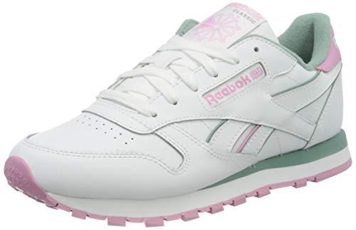 Reebok Womens CL LTHR Gymnastics Shoe, White/Green Slate/Jasmine Pink, 38 EU