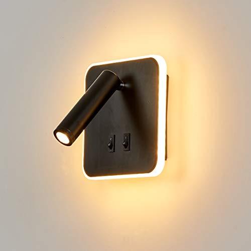 Topmo-plus Luz pared alcoba apliques pared interruptor Luz pared cama LED Lámpara...
