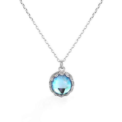 AISHIPING Zilverblauwe Dreambird dames halsketting Baitamori Blu-ray glas kristal maansteen hangslot botten ketting sieraad