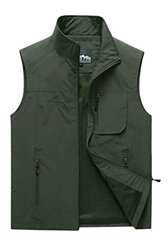 Flygo Mens Summer Lightweight Outdoor Work Fishing Photo Travel Hiking Vest Jacket with Pockets (Medium, Army Green)