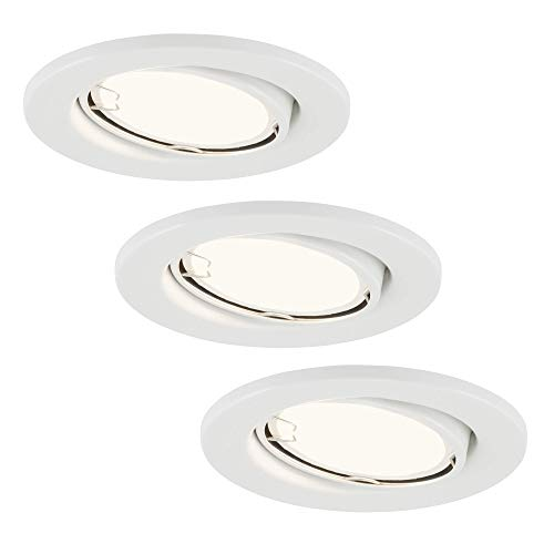 Briloner Leuchten LED Einbauleuchten 3er Set, Einbaulampen schwenkbar, 3 x LED/GU10 3W 200lm, Lichtfarbe: warm weiß, Einbautiefe: 60 mm, Einbaumaß 68mm, Metall, 3 W, Ø86 mm
