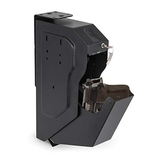 BananaB Stahl Security Gun Box mit Fingerabdruck und Schlüssel tragbare Gun Box Safe 4 X AA-Batterie Waffen Tresor für Hause Sicherheit