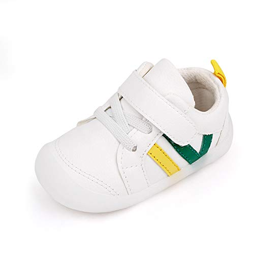 MASOCIO Zapatillas Bebe Niño Niña Zapatos Primeros Pasos Bebé Deportivas Antideslizante Talla 21 Blanco Verde