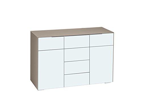 MAJA Möbel Best 7214 Kommode, Abmessungen (BxHxT): 119,60 x 79,40 x 46,20 cm, Glas Sand Matt-Weißglas Matt
