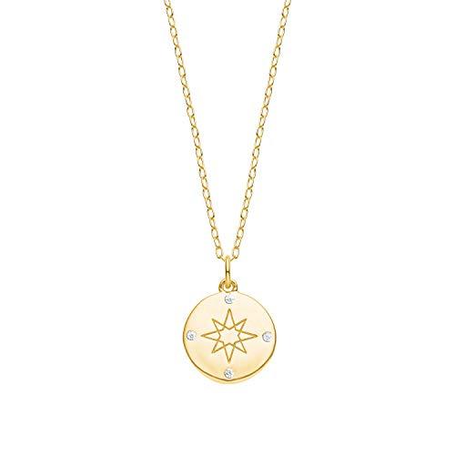 s.Oliver Kette für Damen mit Kompass-Anhänger aus 925 Sterling Silber gelbvergoldet, längenverstellbar