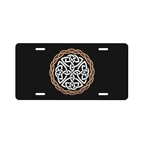 Irish Shield Warrior Celtic Cross Kno License Plate Vanity Auto Car Tag for Decoration Label Art Custom License Tag 6x12 Inchs