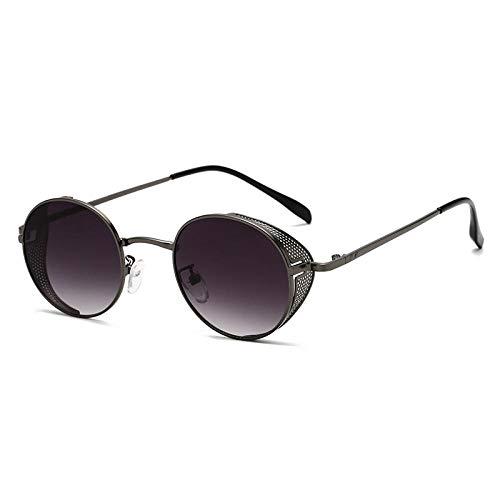 Gafas de Sol Sunglasses Gafas De Sol Clásicas Retro Steampunk Hombres Mujeres Gafas De Sol Redondas Hippie con Montura Metálica Protección U