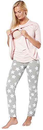 Chelsea Clark Para Mujer Pijama Premamá Embarazo Lactancia Ropa de Salón (Rosa Polvo - Gris con Estrellas, M)