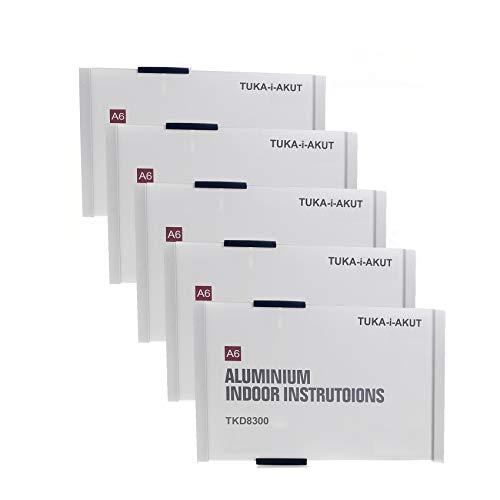 TUKA-i-AKUT 5st. Büro Türschild A6, Aluminium und Acryl Abdeckung, Büroschild zum selbst beschriften für schild 149 mm x 105 mm, Infoschild für Wandmontage zum Anschrauben/Ankleben, TKD8300-A6-5x