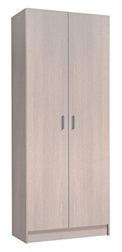 Habitdesign 007142R - Armario Dos Puertas escobero, Armario Multiusos, Color Roble, Medidas:...