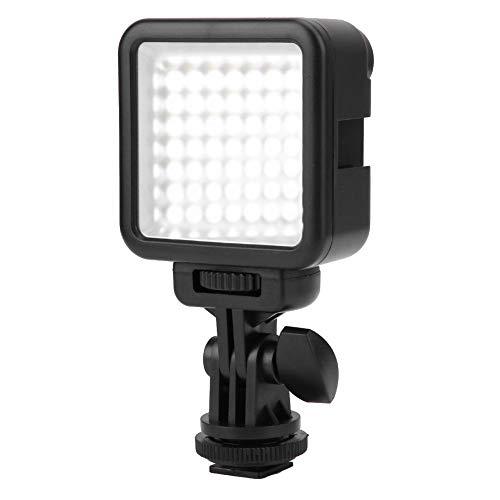 Cameralamp, dimbaar 49 LED-videolamp Draagbare minicameralamp met draaibare cold shoe-houder, 6000K Stabiele kleurtemperatuur