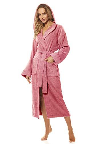 L&L- 2102 Albornoz Mujer Ducha de Baño de Lujo con Manga Larga y Suave. Bata de casa Mujer I Bata de Abrigo con Capucha, de Largo Completo, para Mujeres 100% Algodón n (Powder Pink, Large)