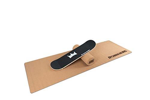Skate Set inkl. Rolle und Matte - Indoorboard Skateboard Surfboard Trickboard Balanceboard Balance Board (150 mm x 45 cm (Kork))