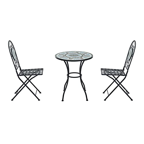 YIE 3pc Bistro Set Metal Dining Mosaic Garden Table 2 Seater Folding Chairs
