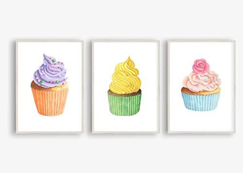 Din A4 Kunstdruck ungerahmt 3-teilig - Cupcake Kuchen Törtchen Torte Streusel Backen Aquarell Küche Esszimmer Geschenk Druck Poster Bild