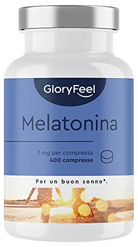 Melatonina 1mg, 400 Compresse (Scorta + 1 Anno), Melatonina Pura, Integratore Melatonina Sonno, Integratore per Dormire e Riposare Meglio, Melatonina Forte per Dormire, Clinicamente Testato