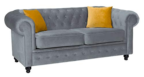 Hilton Chesterfield style Grey French Velvet fabric 3+2 Seater sofa set (2 Seater)