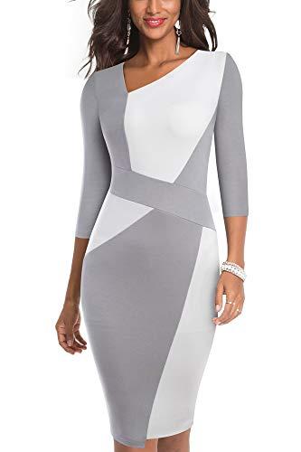 HOMEYEE Damen Vintage Ärmelloses Business Kleid aus Stretch mit Kontrastfarbe B517 (EU 38 = Size M, Weiß + Grau-L)