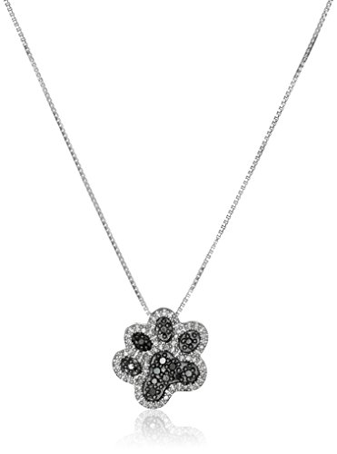 Sterling Silver Black and White Diamond Dog Paw Pendant Necklace (1/10 cttw), 18'